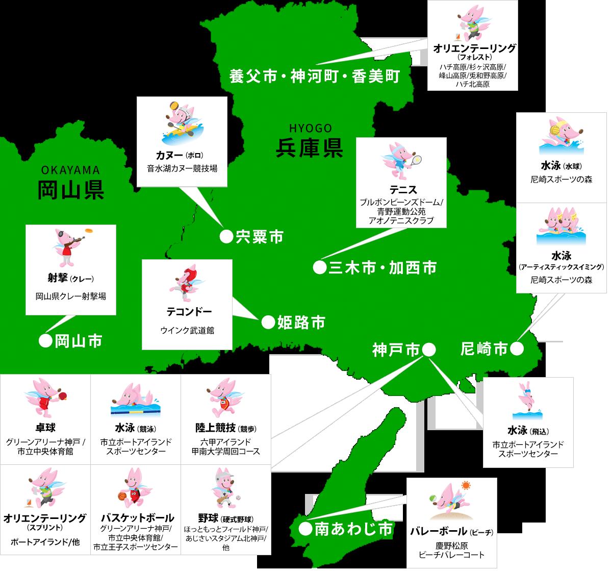 開催競技マップ